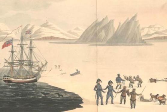 La première rencontre avec les Autochtones de la baie du Prince-Régent, dessinée par John Sackheouse et présentée au capitaine Ross