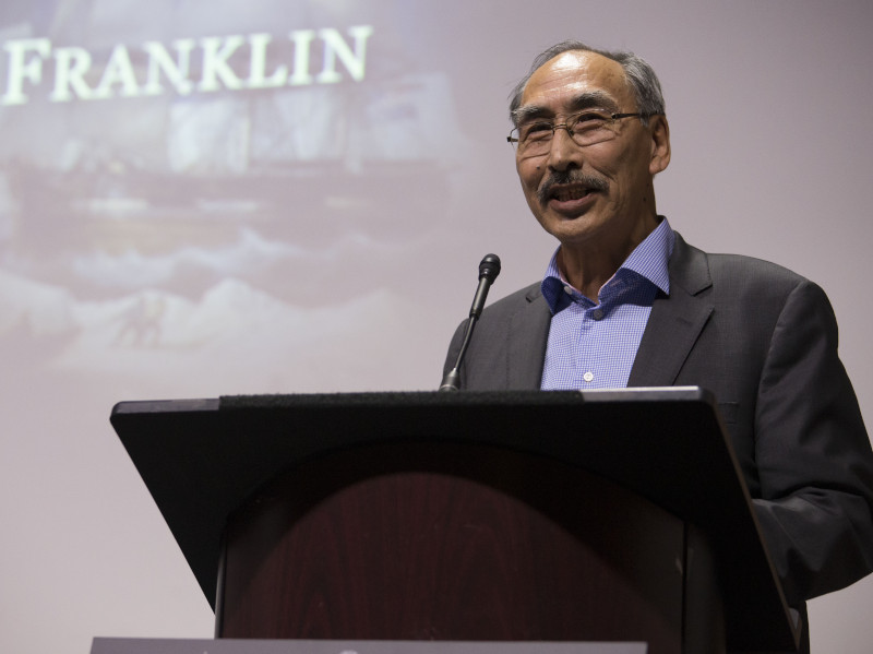 Paul Quasar, formerly Minister of Education for Nunavut and later premier, speaking at the launch of The Franklin Mystery website in June 2015. (Jake Wright)