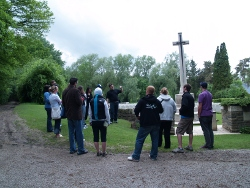 Students from Mount Royal University take part in a decision making exercise at a WWI battlefield site in France.  A discussion about how secondary school teachers can incorporate such assignments into their own classrooms will take place at the conference MRU is hosting in February.