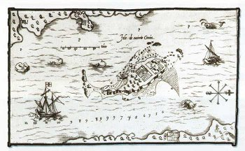 Champlain's map of Île Ste-Croix,, from Ronald Rudin's Remembering Acadie website, https://rememberingacadie.concordia.ca/page/20