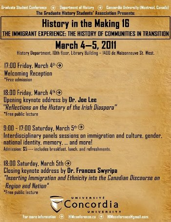 Poster for HIM 16, the 16th annual History in the Making conference, organized by gradute students in the History Department at Concordia University.