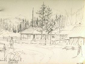 Sketch of Salt Spring Island Cabin [probably Jonathan Begg's house ...
