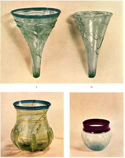 Quatres verres importés trouvés à Birka, Suède