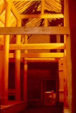 Reconstitution de l'intérieur de la halle de Stöng